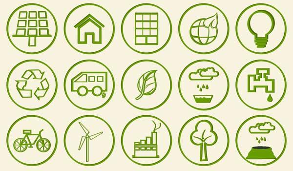 icons representativ for green business
